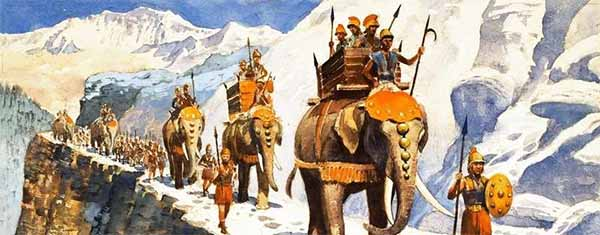 Hannibal and elephants crosses the Alps