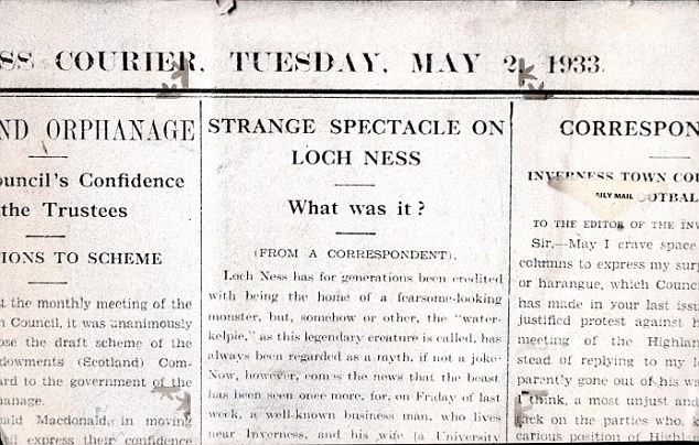 Inverness Courier May 2 1933 Loch Ness Monster