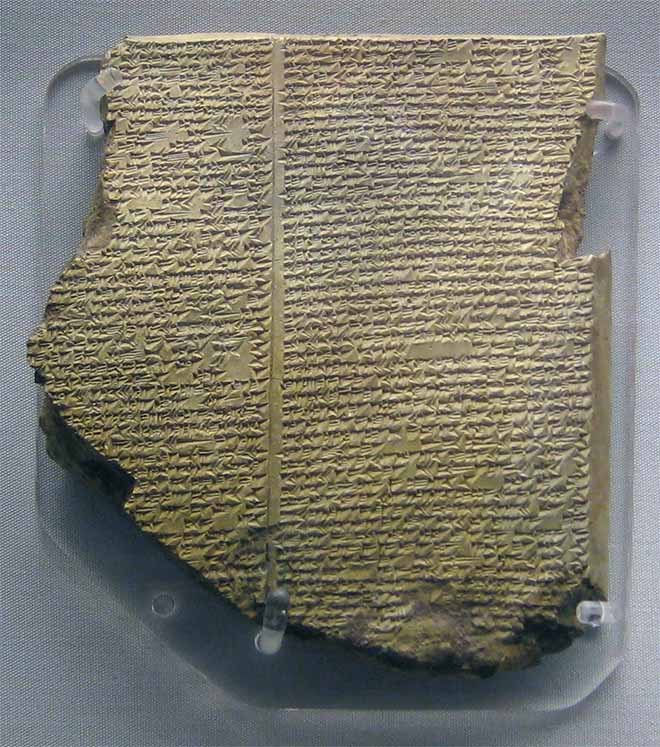 XI tablet of the Epic of Gilgamesh relating the Deluge